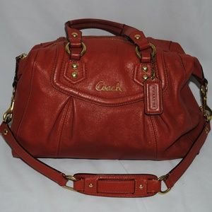 Coach Ashley Satchel Shoulder Bag Orange Leather